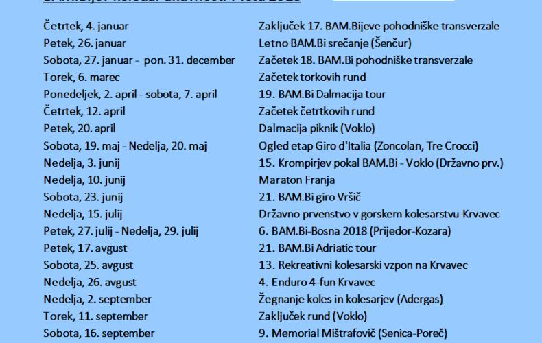 Koledar aktivnosti BAM.Bi 2018